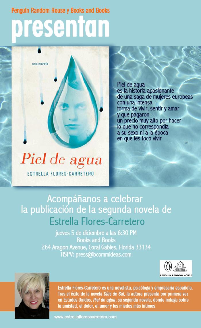 Cartel de la presentación de la novela «Piel de agua» en la editorial Penguin Random House